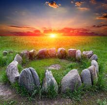 Stone Circle On Sunset Background
