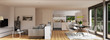canvas print picture - Panorama Blick in Neubau Apartment - Panorama View inside Penthouse with kitchen and sofa