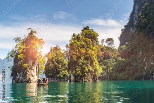 Beautiful mountains lake river sky and natural attractions in Ratchaprapha Dam at Khao Sok National Park, Surat Thani Province, Thailand Wallpaper Mural