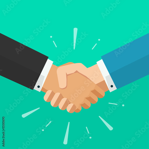 Photo Shaking hands business vector illustration with abstract rays, symbol of success