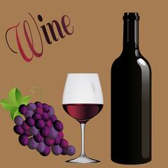 FototapetaВино - винодельня бутылка вина, бокал вина виноград