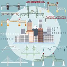 Portland ,Oregon,USA Flat Design Illustration Of Business Center