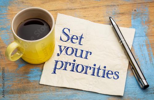 Photo  Set your priorities reminder