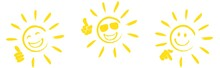 Set Of Happy Sun Icons With Di...