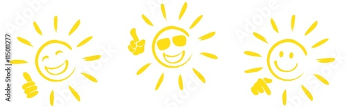Fototapeta set of happy sun icons with different hand signals obraz
