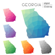 Set Of Vector Polygonal Georgia Maps. Bright Gradient Map Of The US State In Low Poly Style. Multicolored Georgia Map In Geometric Style For Your Infographics.