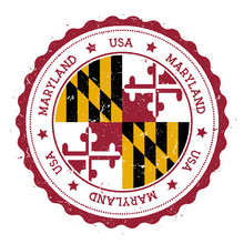 Maryland Flag Badge. Grunge Ru...