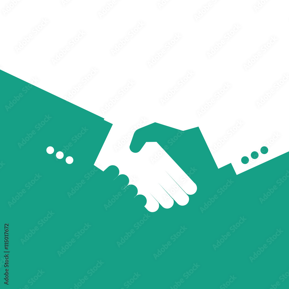 Fototapeta Vector partnership handshake illustration. Background for business and finance. Blue and white.