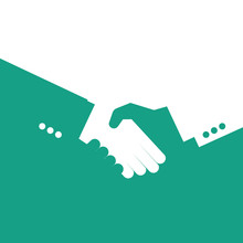 Vector Partnership Handshake Illustration. Background For Business And Finance. Blue And White.