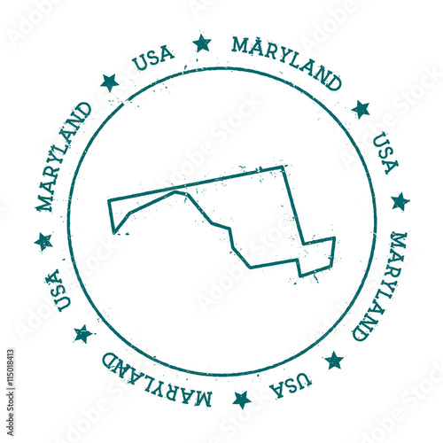 U S State Map Vector.Maryland Vector Map Retro Vintage Insignia With Us State Map