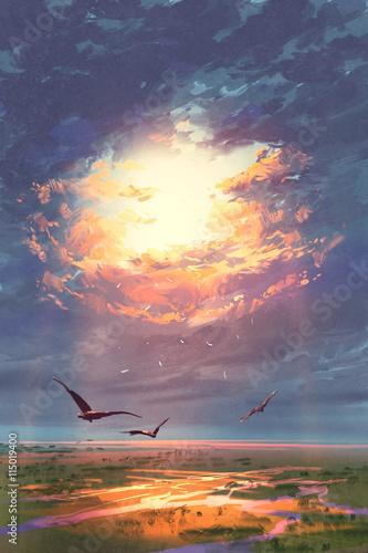 złote promienie przebijające się przez chmury świecące na ziemi, malarstwo pejzażowe