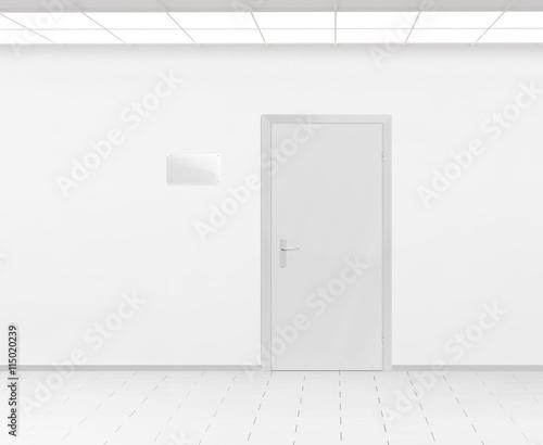 blank glass name plate design mockup near door 3d render door sign