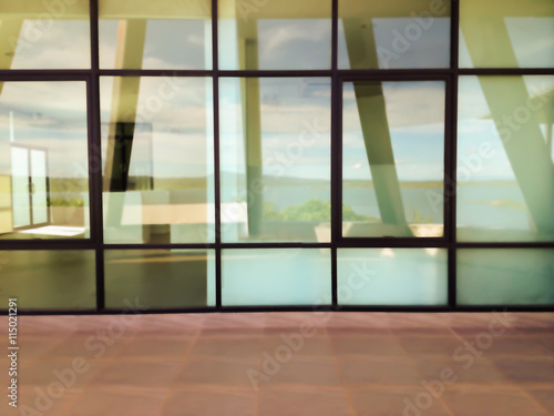 Blurred Background Modern Office Window Glass Plate Or Glass Wall