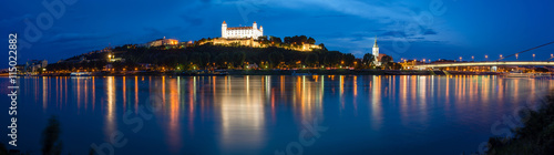 Cityscape of Bratislava at dusk, Slovakia Canvas Print