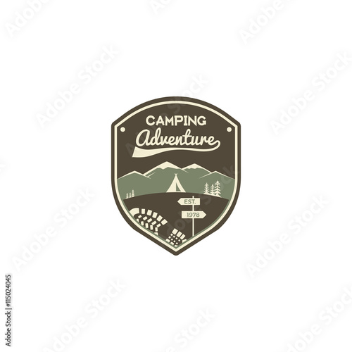 Camping Adventure Label Mountain Winter Camp Badge Outdoor