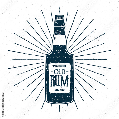 Poster Retro rum bottle label design. Vintage alcohol badge, typography poster for tee , printing t-shirt, web projects. With grunge distressed effects and star burst elements. Isolated