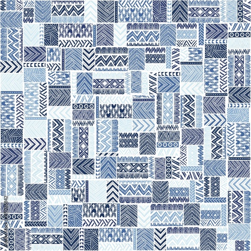 Seamless pattern of patchwork. Elegant blue ornament. Tribal and Fototapete