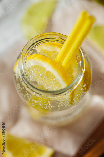 Foto op Plexiglas Water Sparkling Water with Lemon and Mint