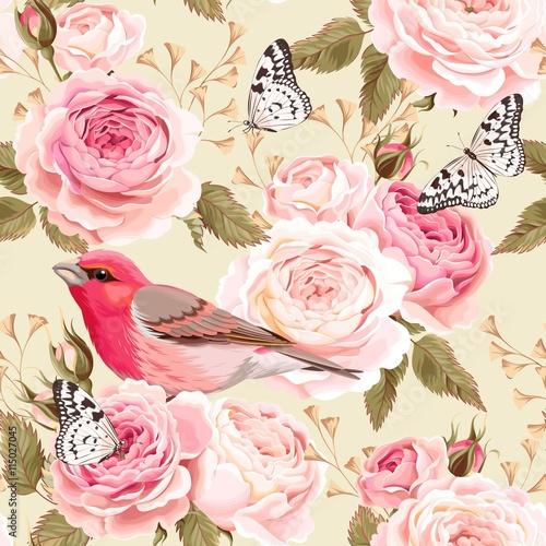Tapeta ścienna na wymiar Wzór angielski róże i ptaki