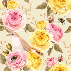 Fototapeta English roses and birds seamless