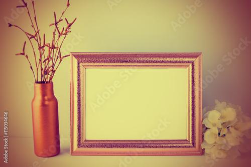 Fotobehang Zwavel geel Vintage toned landscape gold frame mockup