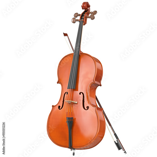 Canvas Classic wooden cello with brown bow. 3D graphic