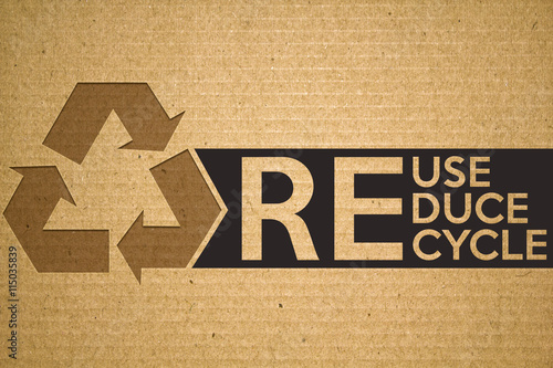 Recycle Symbol On Cardboard With Text Recycle Reuse Reduce Buy