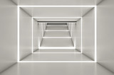 Fototapeta  - Abstract digital 3d white and light white space black background - 3d render