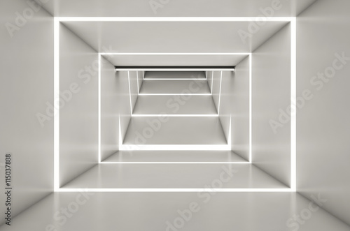 Abstract digital 3d white and light white space black background - 3d render