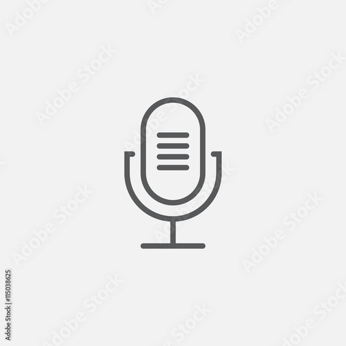 old microphone line icon, outline vector logo illustration, linear pictogram iso Fototapete
