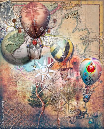 Photo sur Aluminium Imagination Mongolfiere steampunk su sfondo retro'