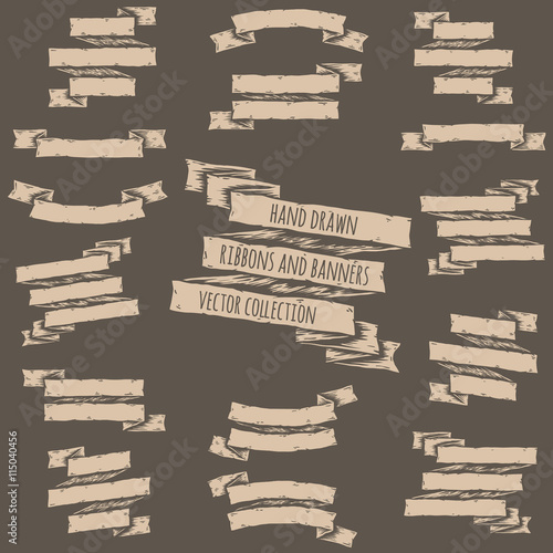 Fototapety, obrazy: Hand drawn set of ribbons and banners.