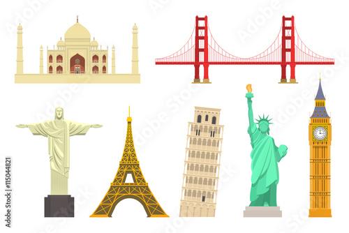 Famous world landmarks set. Vector travel destinations icons. Isolated on white. Taj Mahal, San Francisco Golden Gate Bridge, Christ the Redeemer, Eiffel Tower, Pisa, Statue of Liberty, Big Ben