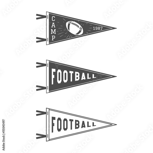 College Football Pennant Flags Set Pendant Icons University USA Sport Flag Isolated