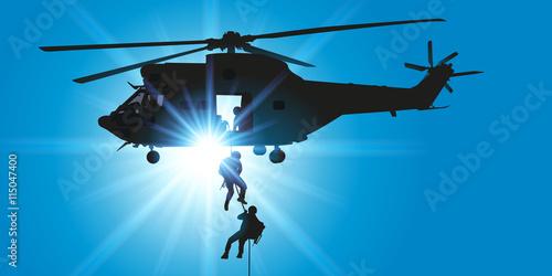 plakat Hélicoptère - descente en rappel