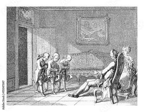 Fotografie, Obraz  Prussian education in XVIII century: boys at home bow to the parents dressed lik