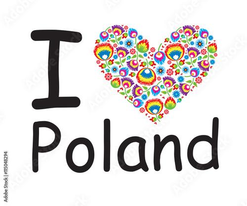 Serce, wzór łowicki, polski folklor - 115048294