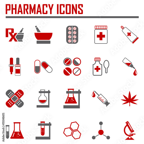 Photo  Vector pharmacy icons - in red color