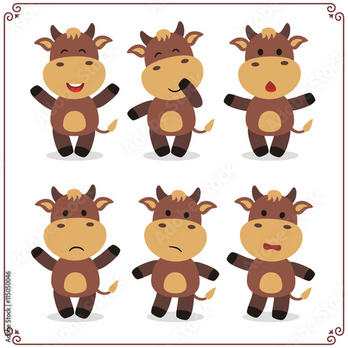 obraz PCV Set Vector Illustrations isolated emotion character cartoon little cow. Stickers emoticons cow with different emotions. Icon emotion funny cow. Emoji cow