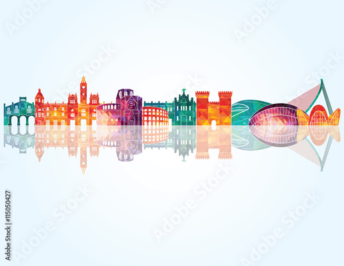 Valencia skyline detailed silhouette. Vector illustration