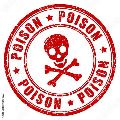 Fotografía  Poison danger vector rubber stamp