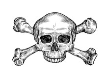 Jolly Roger. Hand Drawn Human Skull And Crossbones. Sketch Vector Illustration