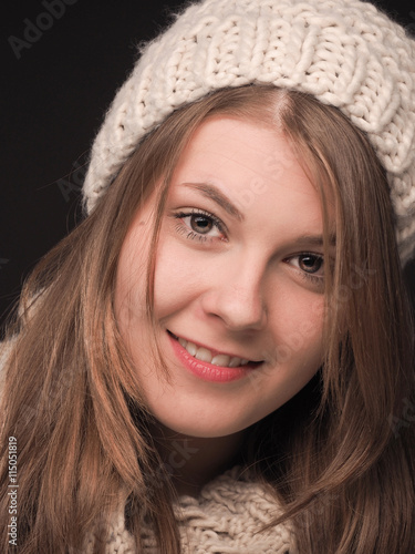 07cae516e453 Young woman with wool cap and scarf - Buy this stock photo and ...