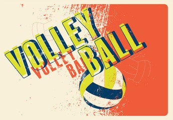 Panel Szklany Siatkówka Volleyball typographical vintage grunge style poster. Retro vector illustration.