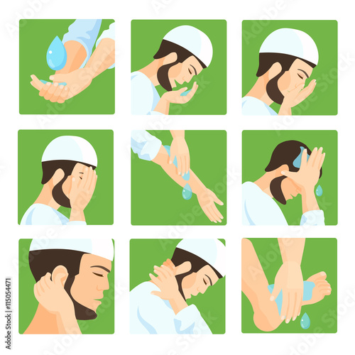 Fotografija  Muslim ablution, purification guide