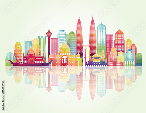 Photo  Kuala Lumpur detailed silhouette. Vector illustration