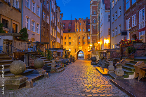 Beautiful architecture of Mariacka (St. Mary) street in Gdansk a