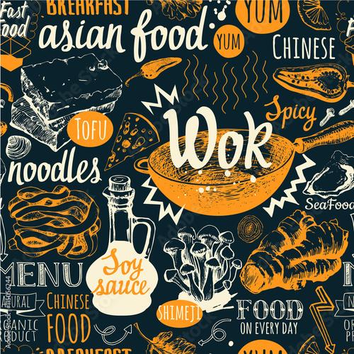 Tapety do jadalni bezszwowe-tlo-z-symboli-zywnosci-wok