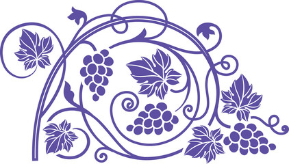 Panel Szklany Wino Wine theme design element with grape branches.