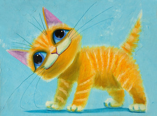 Fototapeta Kot an original painting on canvas orange funny cat with big eyes, joy and happy mood, part of collection.